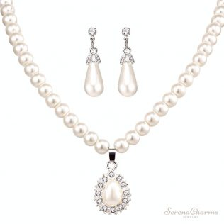Silver Color Simulated Pearl Paved Crystal Earrings
