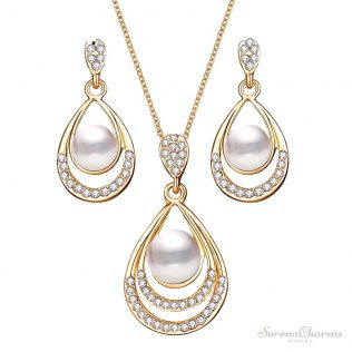 Water Drop Simulated Pearl Crystal Necklace