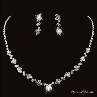 Silver Plated Crystal Choker Necklace, Earrings Set