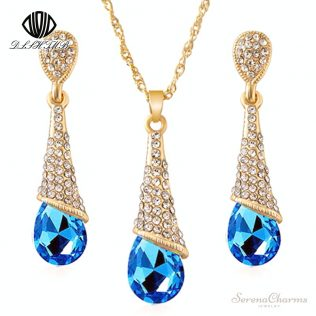 Blue Crystal Earrings, Necklace Set With Nine Colour Drops Earrings