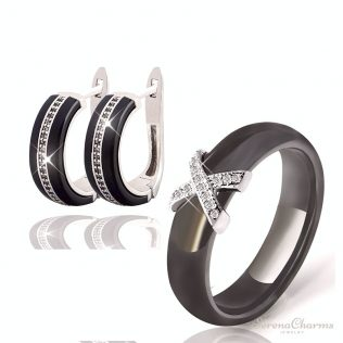 Silver Color Aaa Cz Ceramic Bridal Jewelry Set