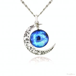 Silver Color Glass Galaxy Jewelry Set