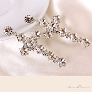 Popular Charismatic Cross Crystal Earrings