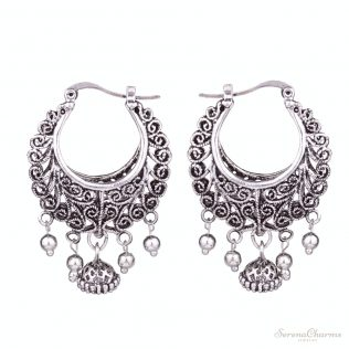 Antique Silver Color Hollow Filigree Vintage Earrings
