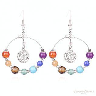 7 Chakra Tree Of Life Drop Earrings