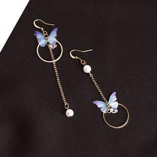 Alloy Circle, Butterfly Earrings