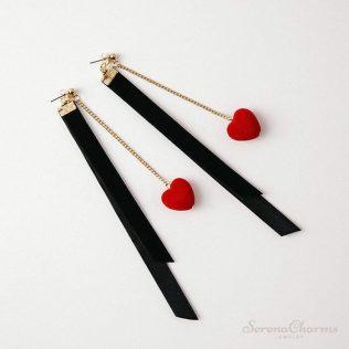 Korean Vintage Red Heart Black Flannelette Ribbon Drop Earrings
