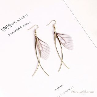 Handmade Simple Butterfly Wing Long Earrings