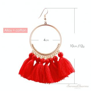 Vintage Bohemian Handmade Cotton Tassel Drop Earrings