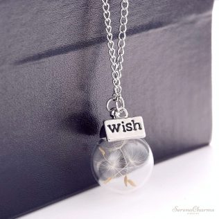 Water Drop Bottle Botanical Pendant Necklace