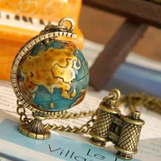 Globe, Telescope Alloy Long Pendant Necklace