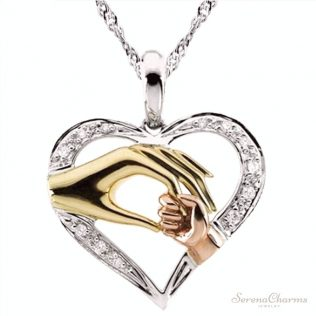 Mother And Child Hand In Hand Pendant Necklace