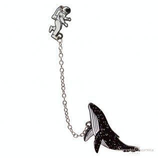 Cosmic Space Whales Cartoon Badge