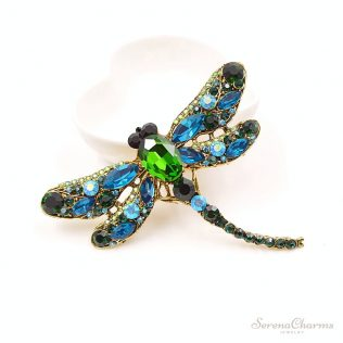 Crystal Vintage Dragonfly Brooch For Women