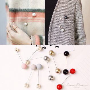 High Quality Double Pearls Brooch
