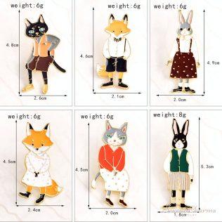 Rabbit/Fox/Cat Enamel Pin Badges