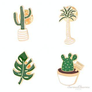 Coconut Tree, Cactus, Leaves Enamel Brooch