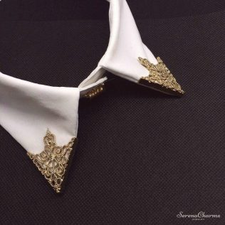Hollow Alloy Collar Angle Brooch