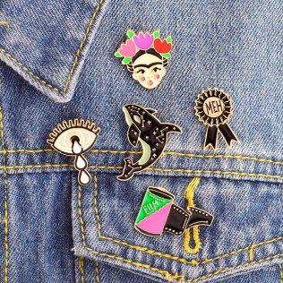 Whale, Film Tape, Meh, Medal, Tears, Girl Brooch