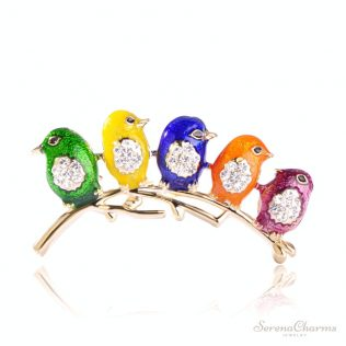 Colorful Enamel Five Birds Brooch With Crystal Rhinestones