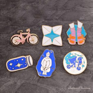 Bicycle, Girl, Shoes, Origami, Wishing Bottle, Travel Around The World Enamel Pins