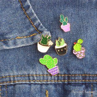 Mini Green Cactus Enamel Pins