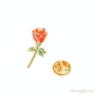 Rose, Coctail, Champagne, Black Cat, Heart Shape Brooch
