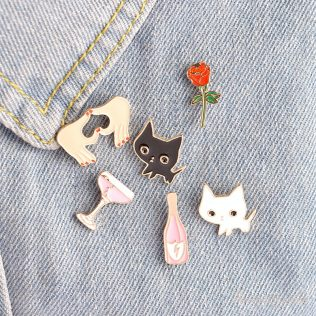 6 Pcs/Set Enamel Pins For Jacket