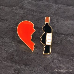 Broken Heart Bottle Brooch Set