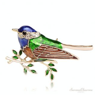 Colorful Enamel Bird Brooch