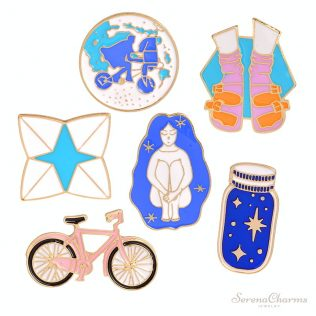 Bike, Wishing Bottle, Sleeping Girl, Origami, E.T., Shoes Pins