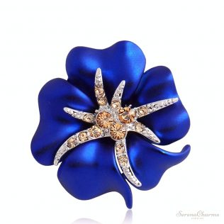 Blue Enamel Flower And Starfish Brooch