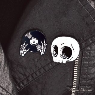 Halloween Skeleton And Record Pin