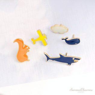 Shark, Squirrel, Cloud, Aircraft, Whale Brooch