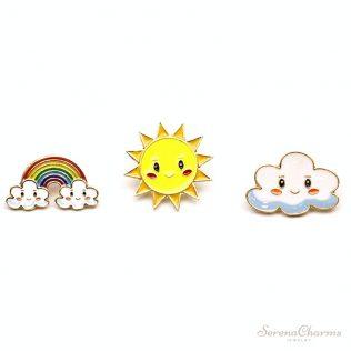 Cartoon Sweet Sun, Rainbow, Cloud Metal Brooch