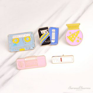 Radio, Battery, Pizza Ball, Magnetic Tape Cartoon Brooches