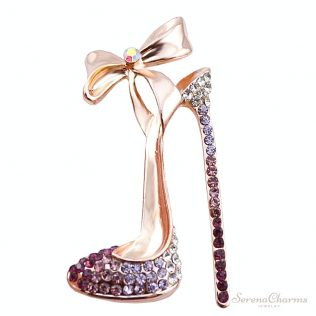 Romantic Purple Crystal High-Heeled Shoes Brooch