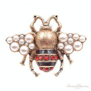 Vintage Rhinestone Bee Brooch
