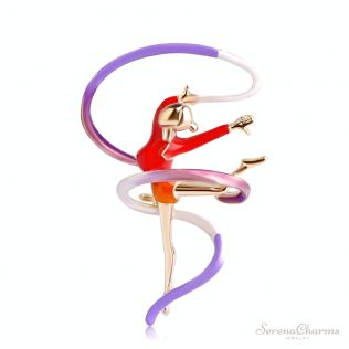 Gymnastic Girl With Ribbon Brooch