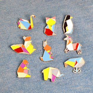 Origami Animal Metal Enamel Button Pins