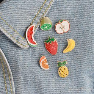 7pcs/Set Watermelon, Kiwi, Strawberry, Orange, Banana, Apple, Pineapple Fruit Brooch