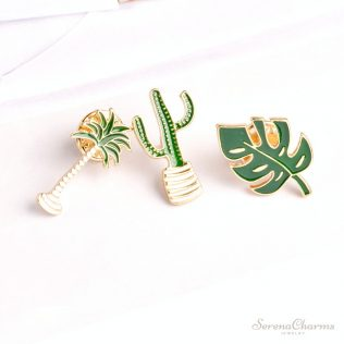 Green Plant, Coconut Tree, Mexican Cactus, Leaf Metal Brooch