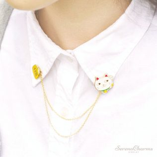 Cute Egg, Cat, Rabbit, Planet, Animal Chain Brooch