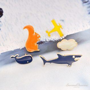 Airplane, Cloud, Shark, Whale, Squirrel Brooch Pins