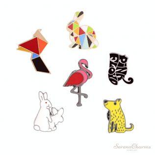 Creative Cartoon, Geometric, Multicolor, Rabbit, Flamingo, Cute Cat, Enamel Brooch Pins