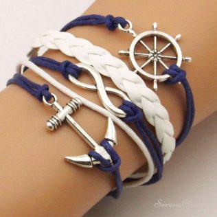 Braided Wax Cords Anchor Pendant Bracelet