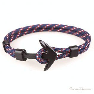 Trendy Punk Black Anchor Bracelet